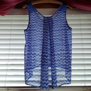 Candies Polyester  Blue/White Sleeveless Blouse